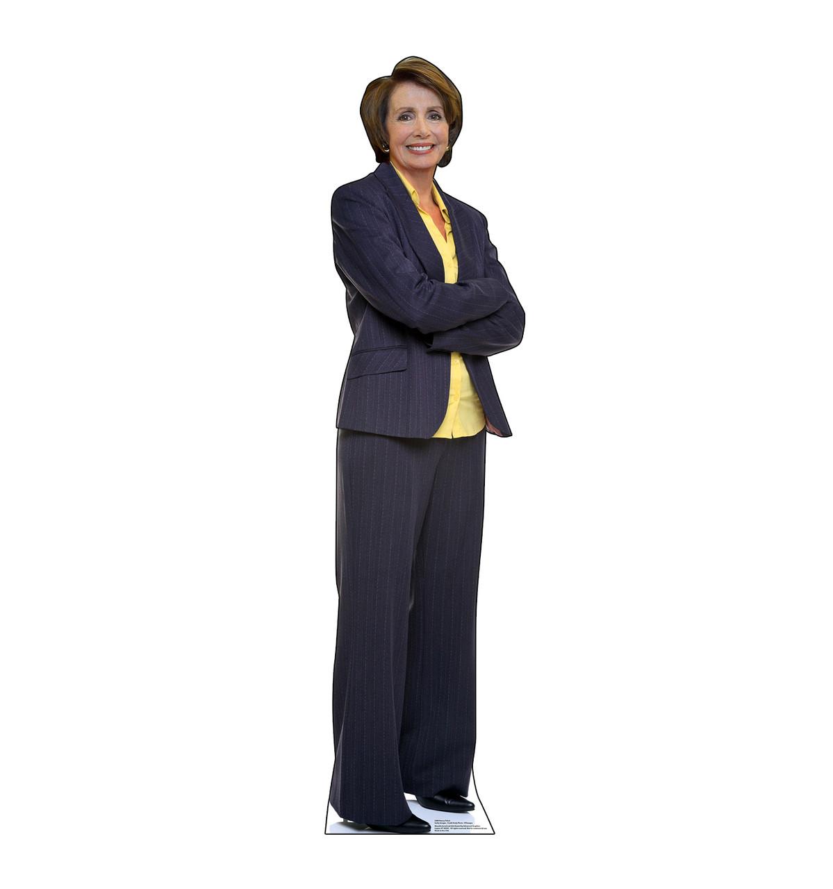 Life-size cardboard standee of Nancy Pelosi.