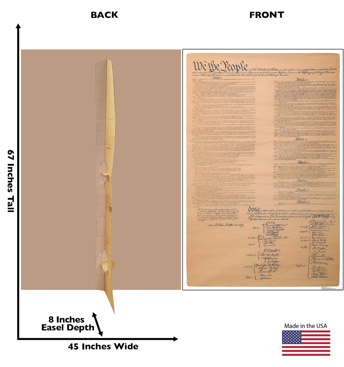 Life-size cardboard standee of We The People, US Constitution with back and front dimensions.