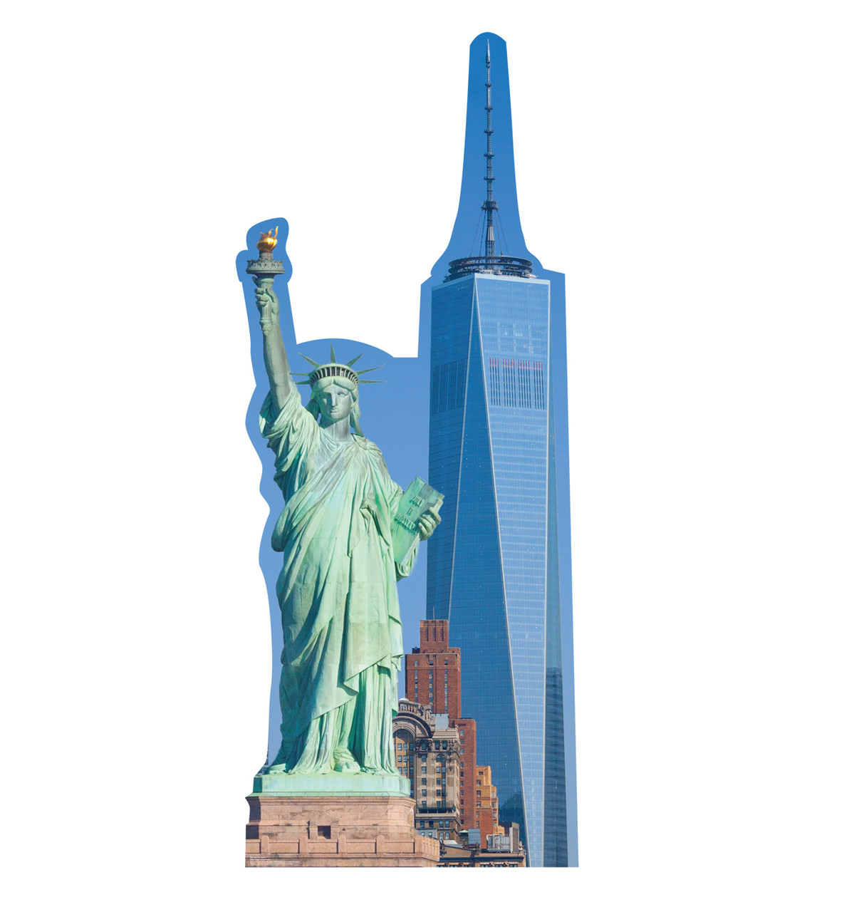 This is a life-size cardboard standee of the New York Skyline. .