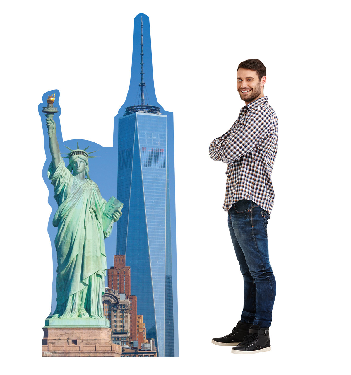 This is a life-size cardboard standee of the New York Skyline with model.