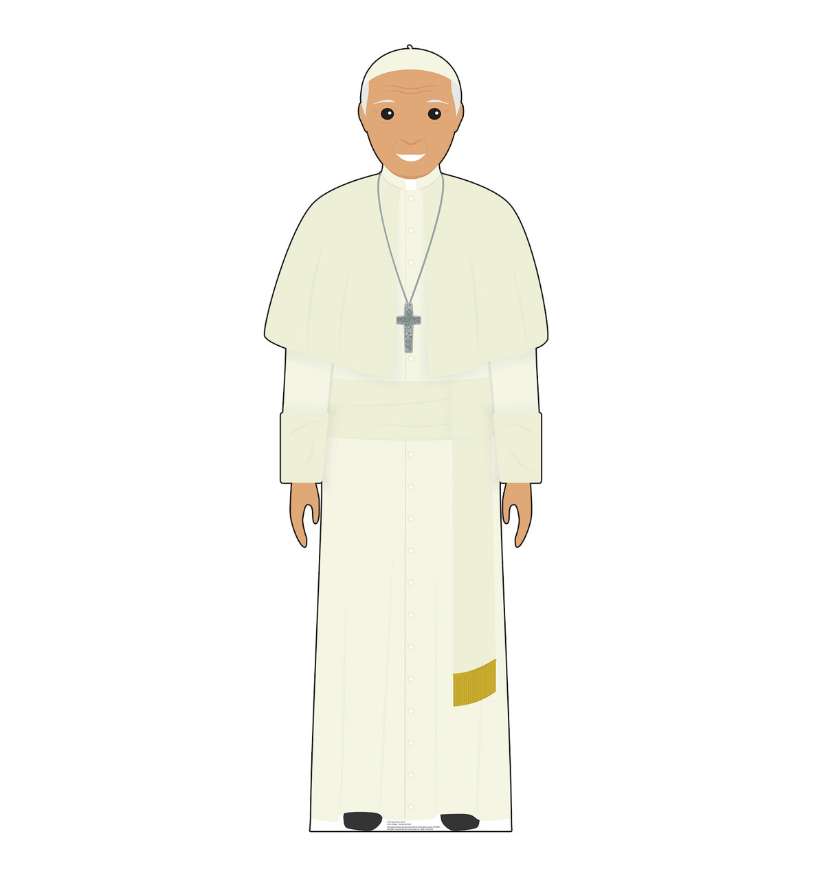 This is a life-size cardboard standee of the Pope in a white outfit.