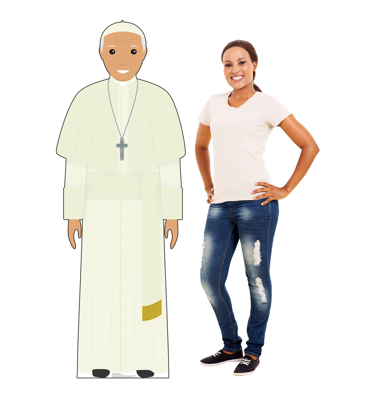 This is a life-size cardboard standee of the Pope in a white model.