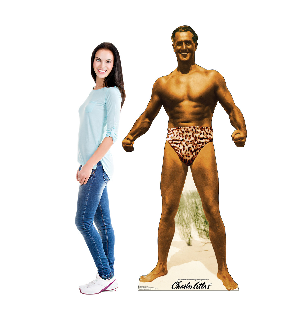 Life-size cardboard standee of Charles Atlas bodybuilder with model.