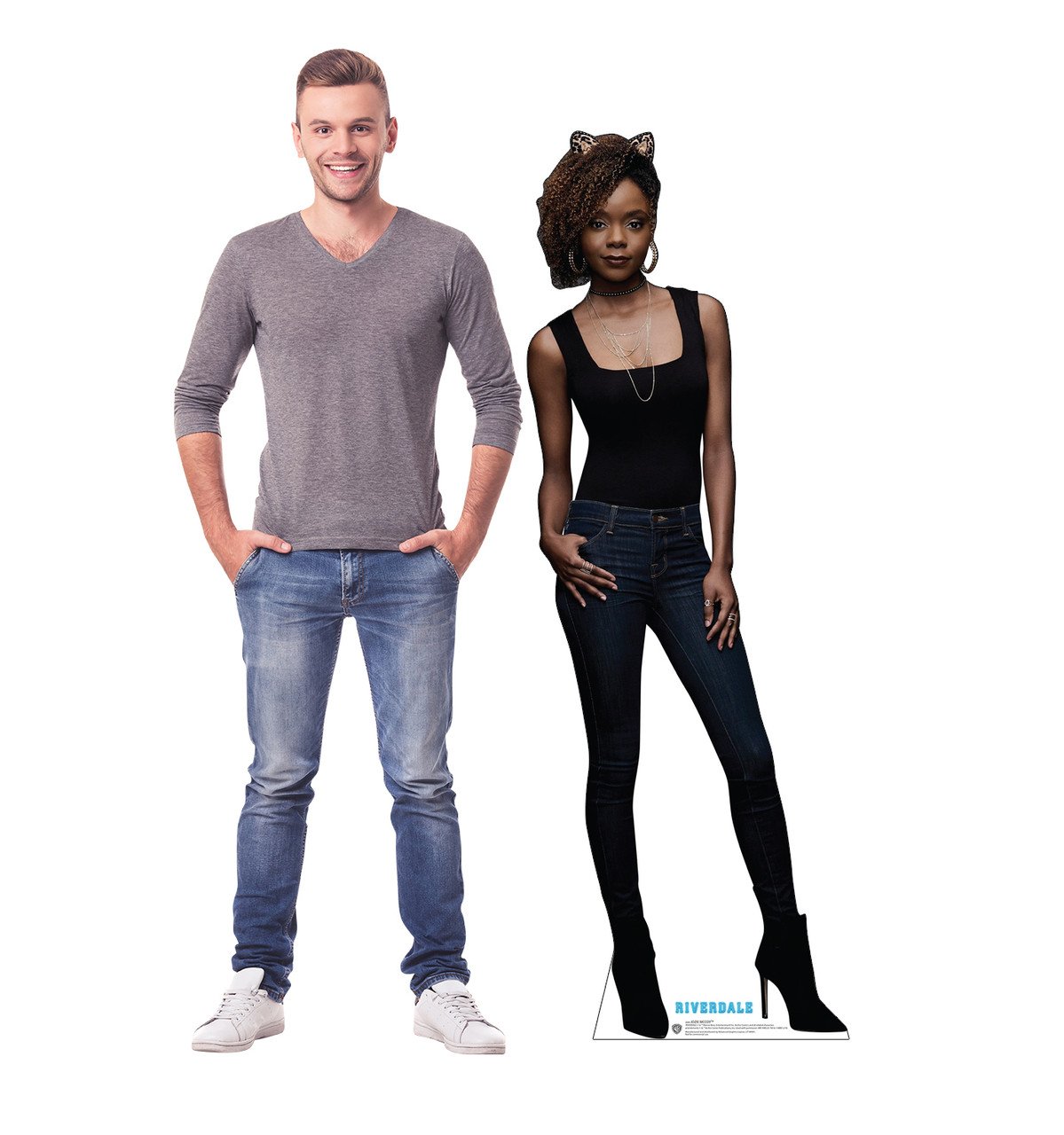 Life-size cardboard standee of Josie McCoy from the TV Series Riverdale with model.