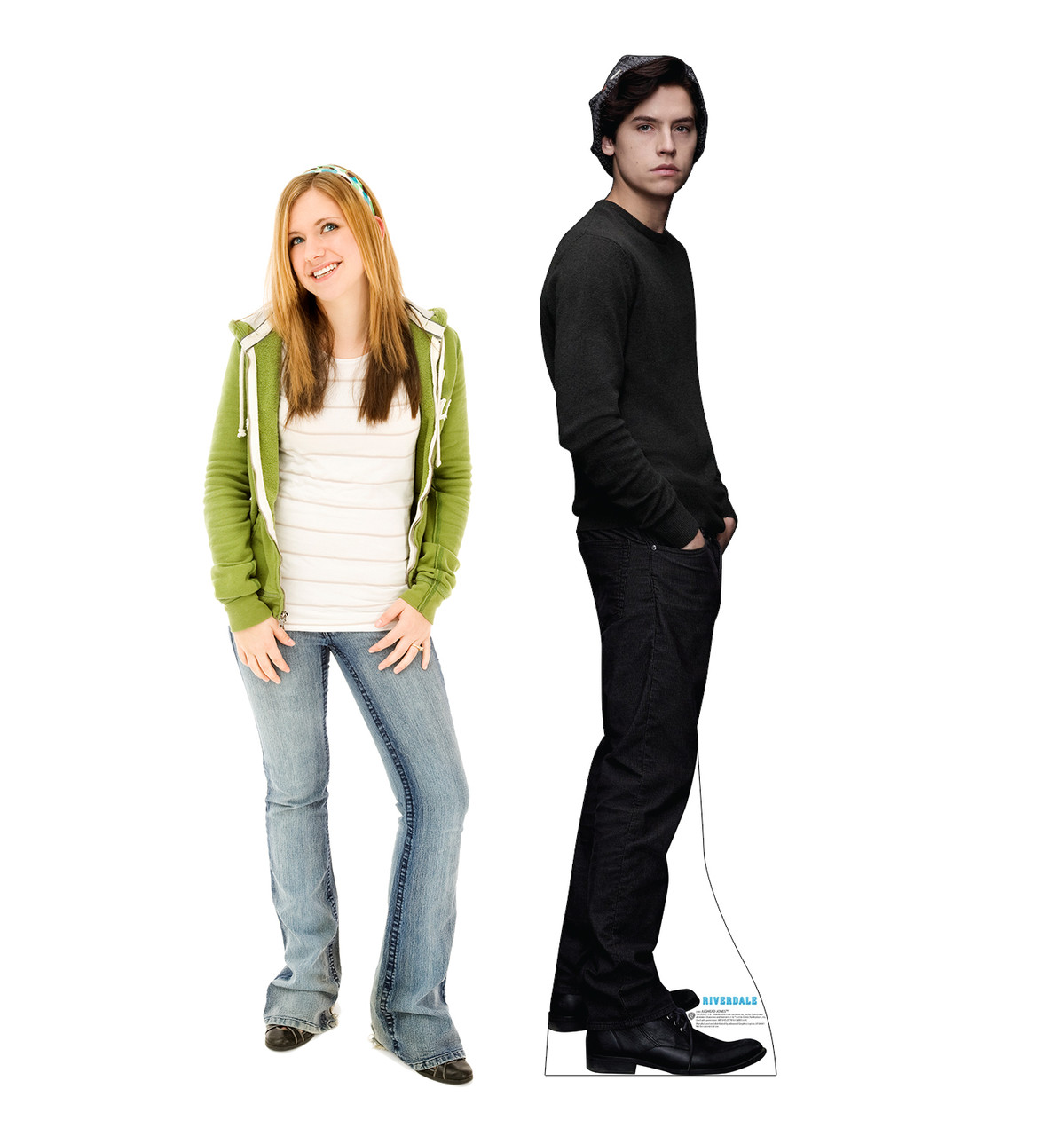 Life-size cardboard standee of Jughead Jones from the TV Series Riverdale with model.