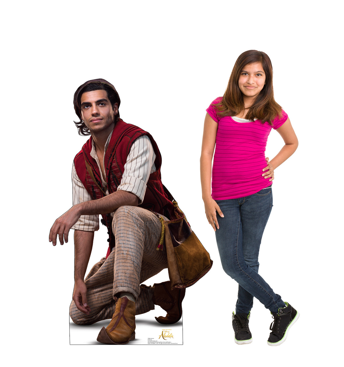Life-size cardboard standee of Aladdin from the Disney live action movie with model.
