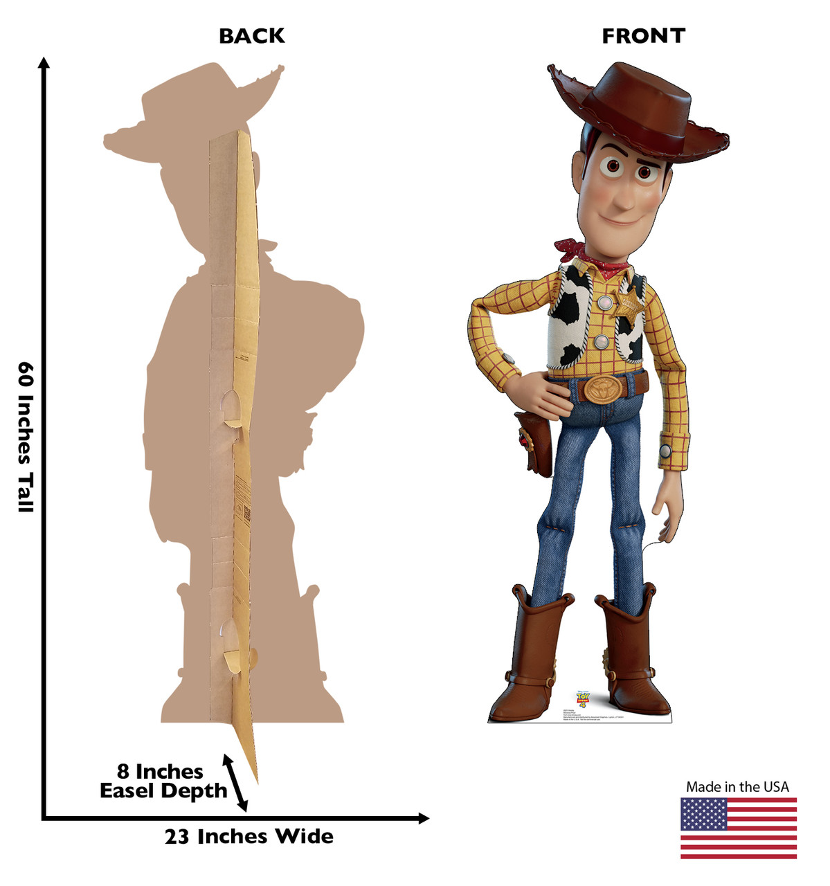 Woody - Toy Story 4 Cardboard Cutout Front and Back View