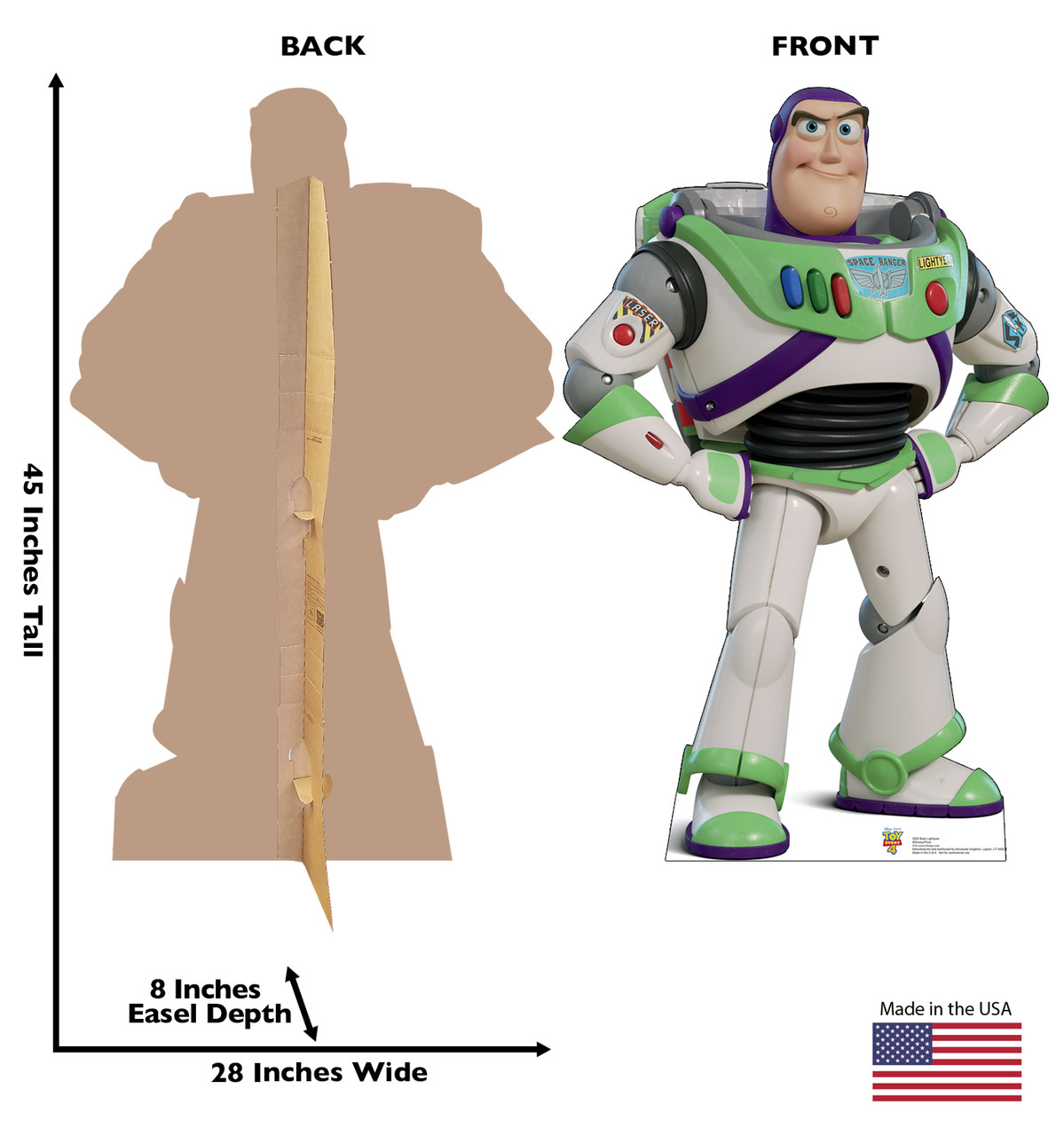 Buzz Lightyear - Toy Story 4 Cardboard Cutout Front and Back View