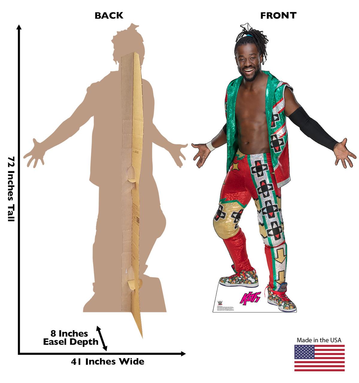 Kofi Kingston WWE - Green Vest Cardboard Cutout Front and Back View