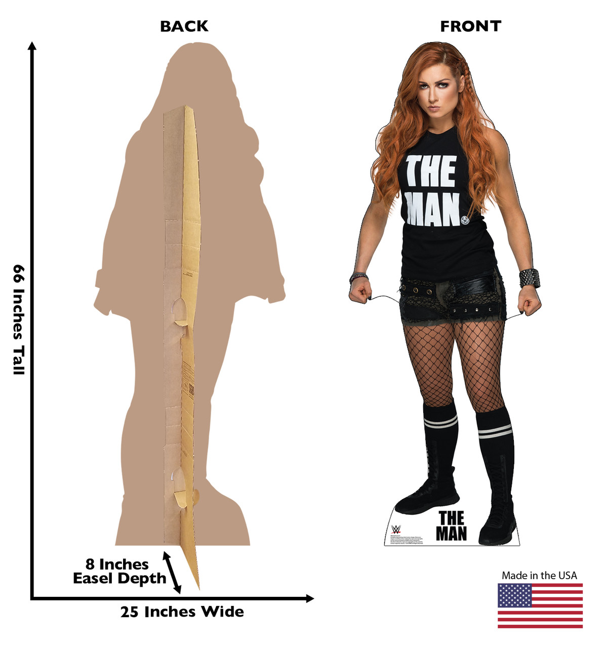 Becky Lynch WWE - Black Shirt Cardboard Cutout Front and Back View