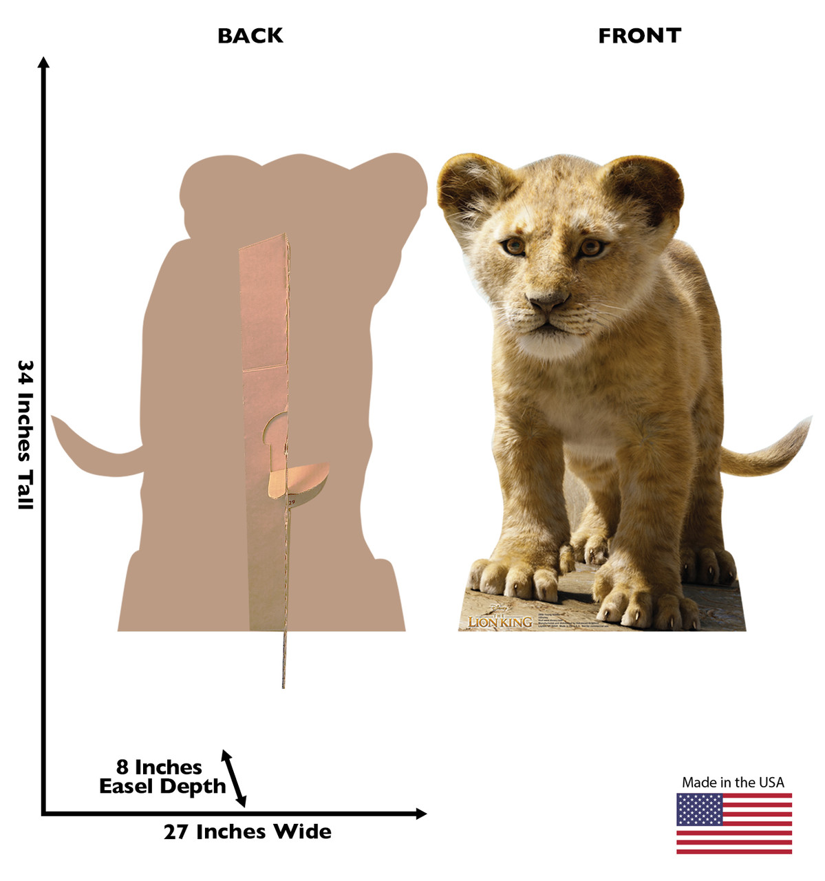 Life-size cardboard standee of Young Simba from Disney's live action film The Lion King Front and Back View