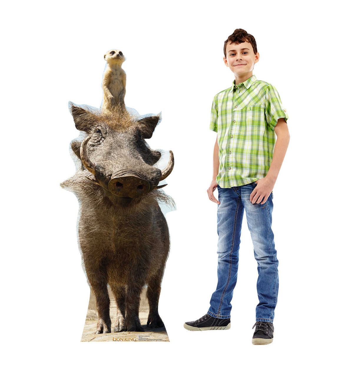 Life-size cardboard standee of Timon and Pumbaa from Disney's live action film The Lion King Lifesize