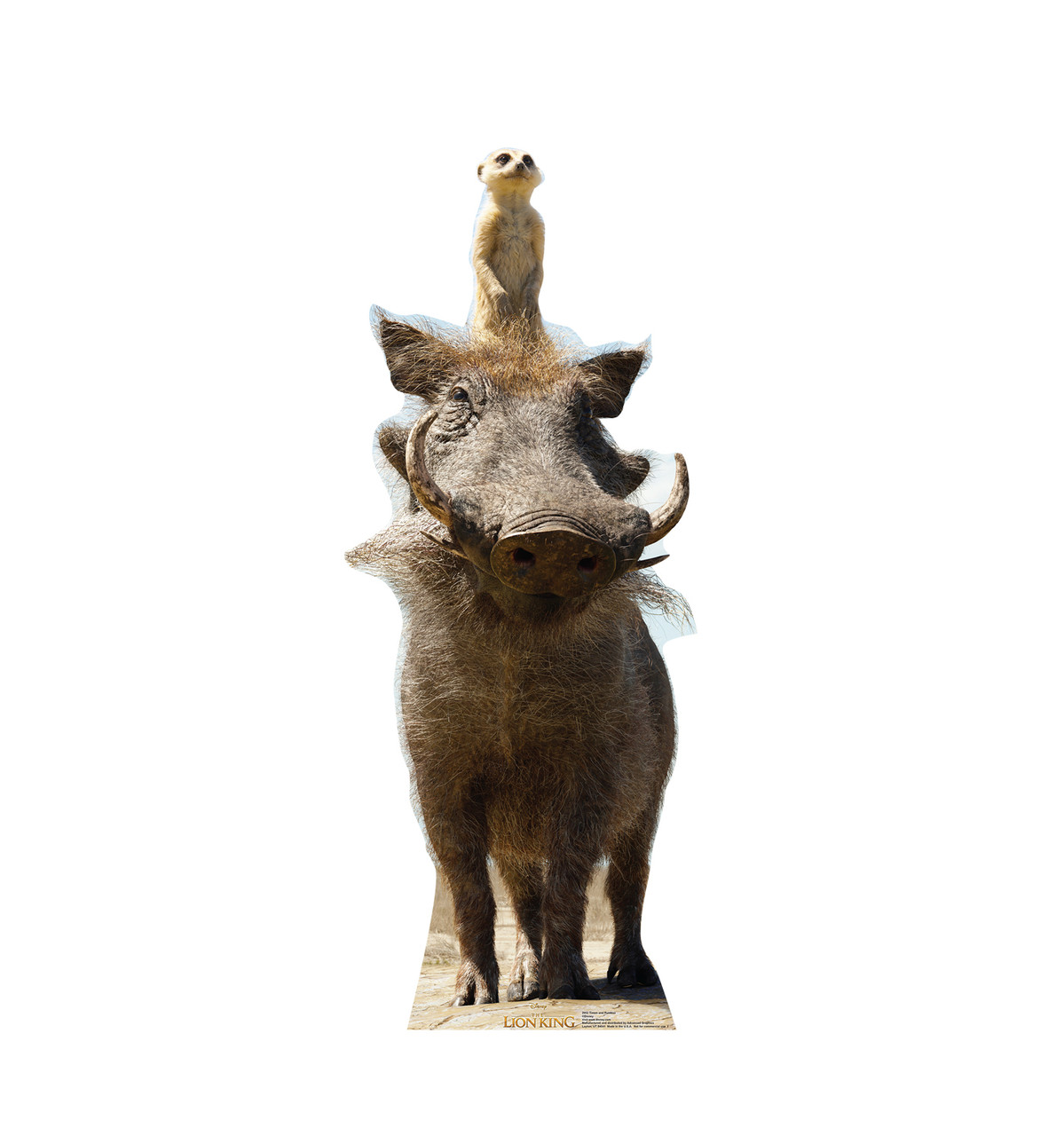Life-size cardboard standee of Timon and Pumbaa from Disney's live action film The Lion King Front View