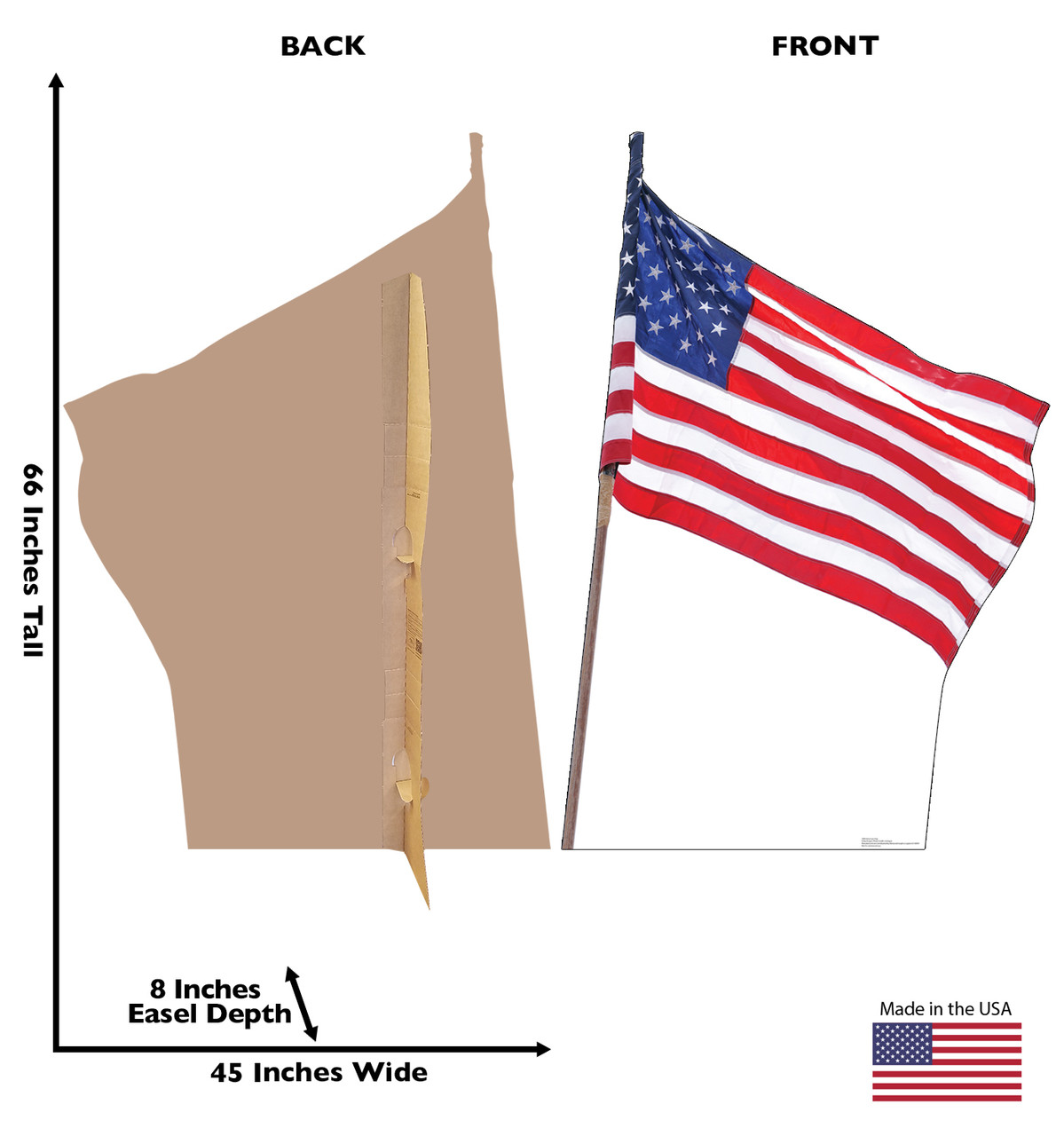 Cardboard standee of the American Flag Front and Back View