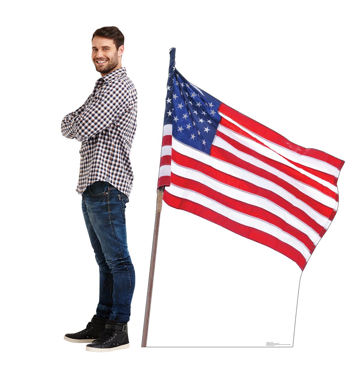 Cardboard standee of the American Flag Lifesize