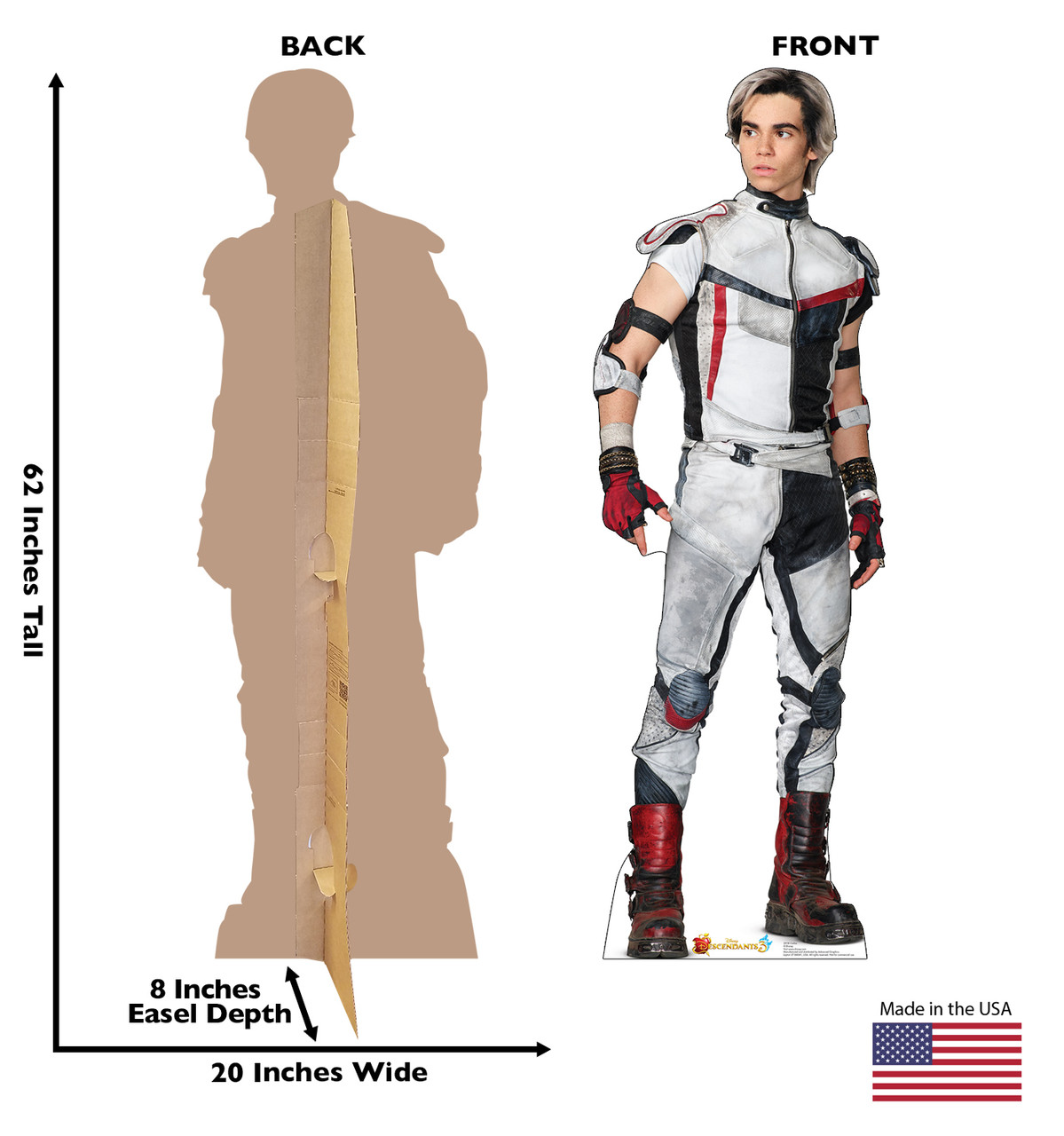 Carlos - Disney's Descendants 3 Cardboard Cutout Front and Back View