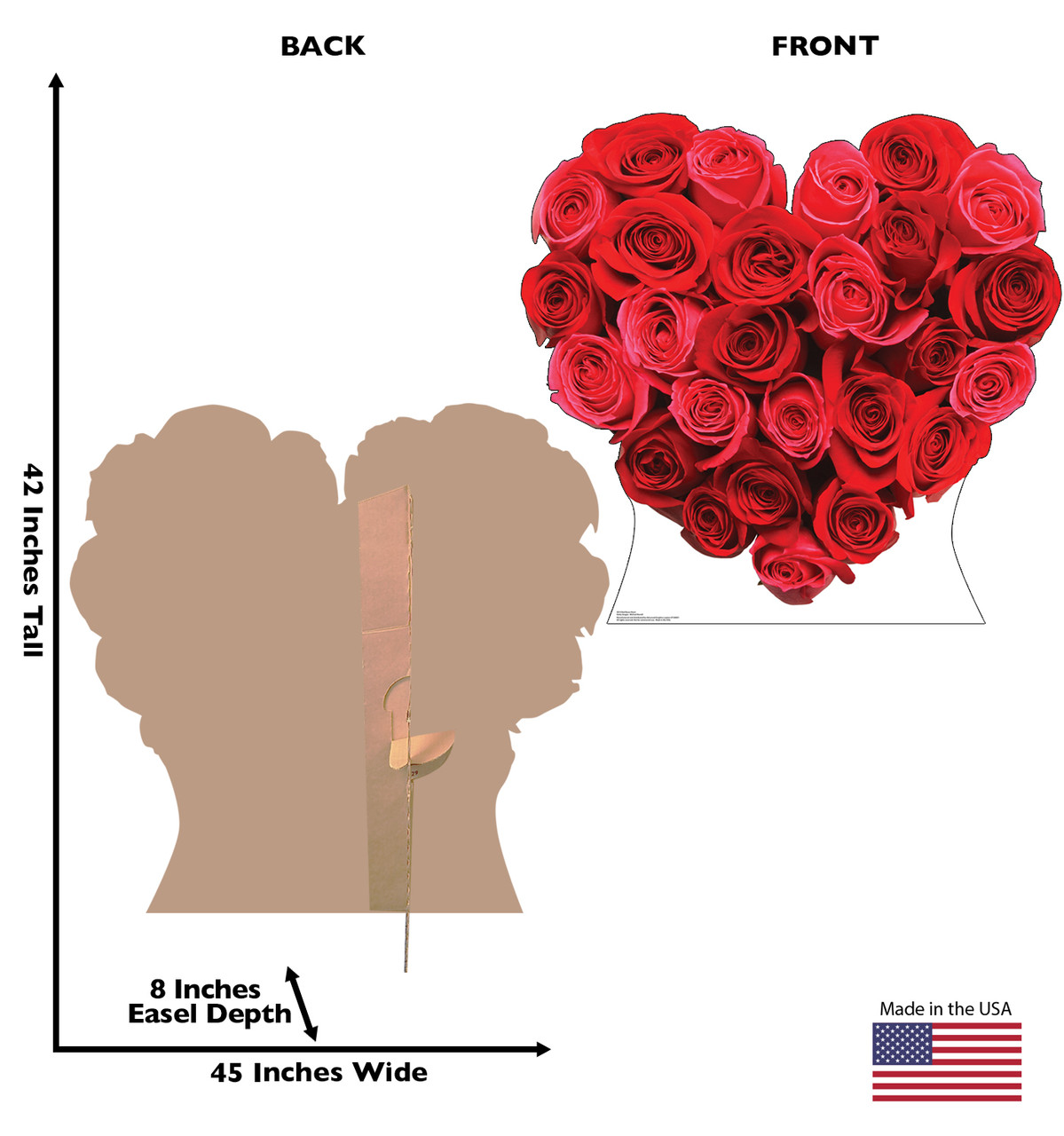 Life-size cardboard standee of Red Roses Heart Front and Back View