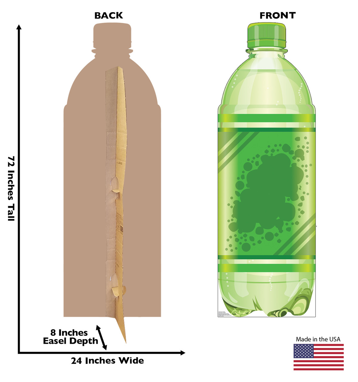 Life-size cardboard standee of a Soda Pop Bottle Front and Back View