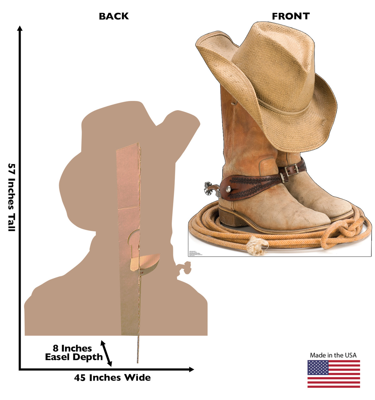 Life-size cardboard standee of Cowboy Boots Front and Back View