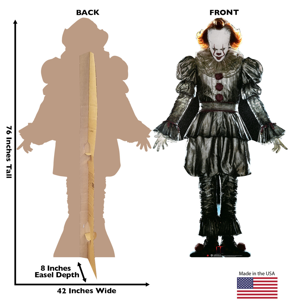 Pennywise from IT Chapter 2 Movie 2019 Cardboard Front and Back View