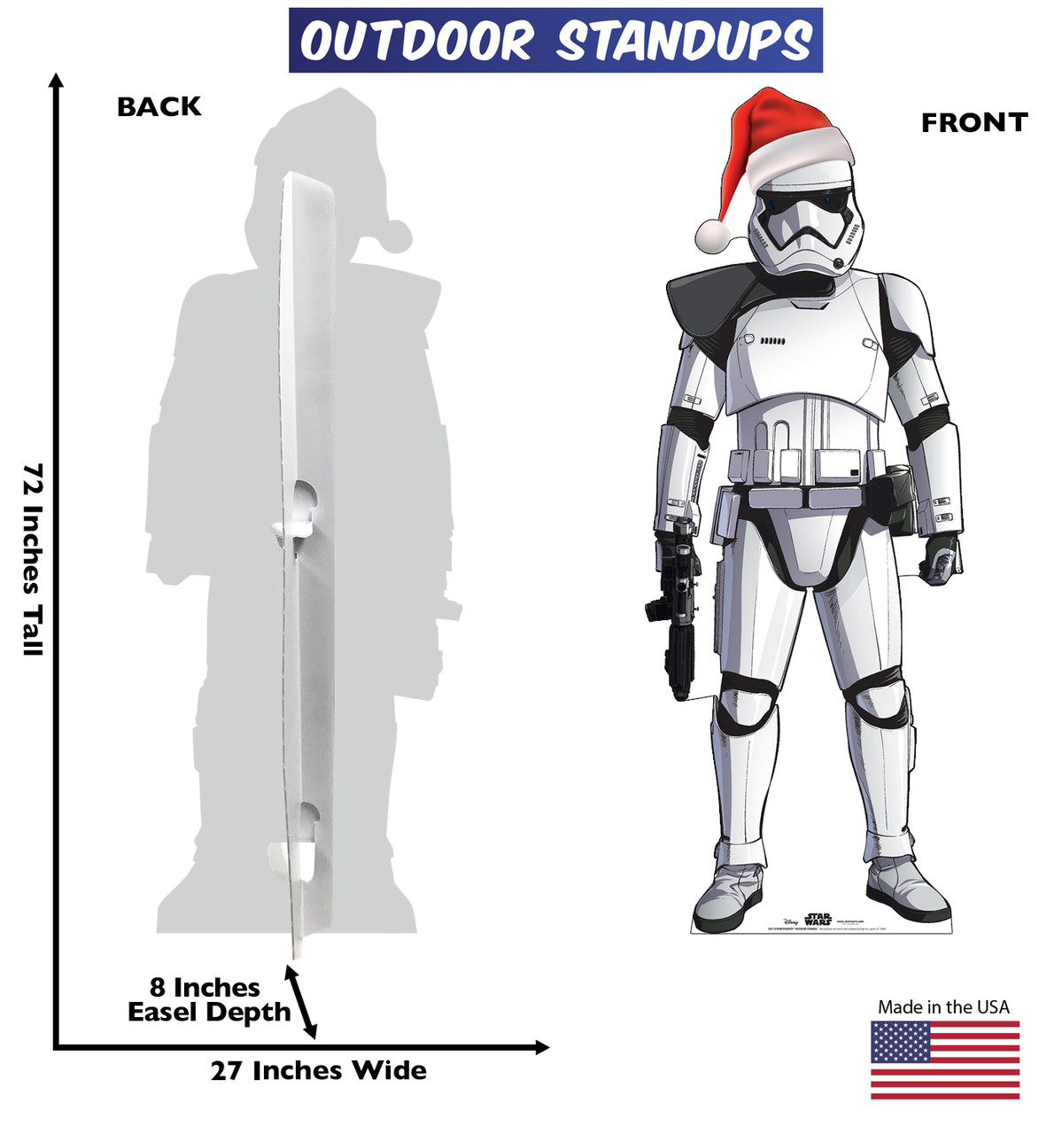 Coroplast outdoor standee of Stormtrooper with holiday hat and front and back dimensions.
