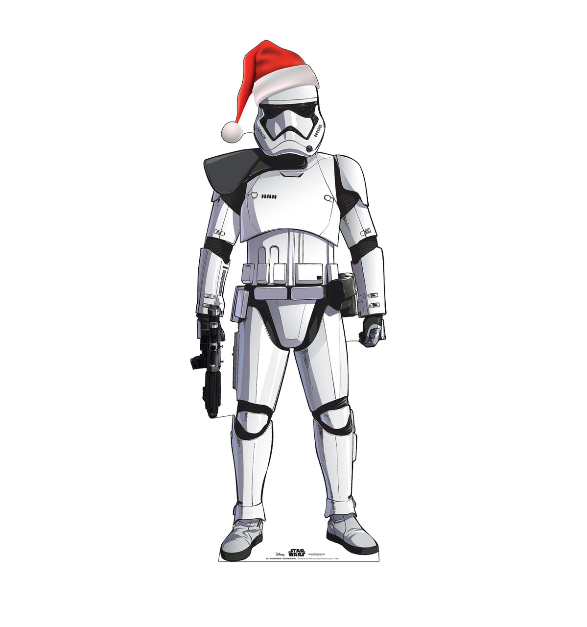 Coroplast outdoor standee of Stormtrooper with holiday hat.