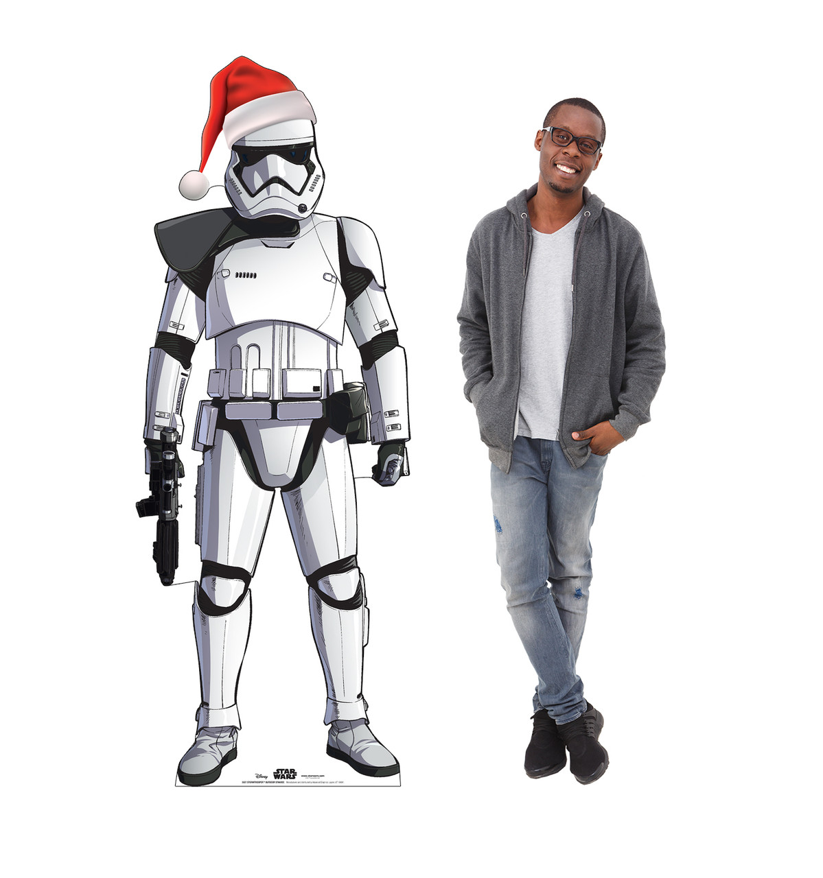 Coroplast outdoor standee of Stormtrooper with holiday hat with model.