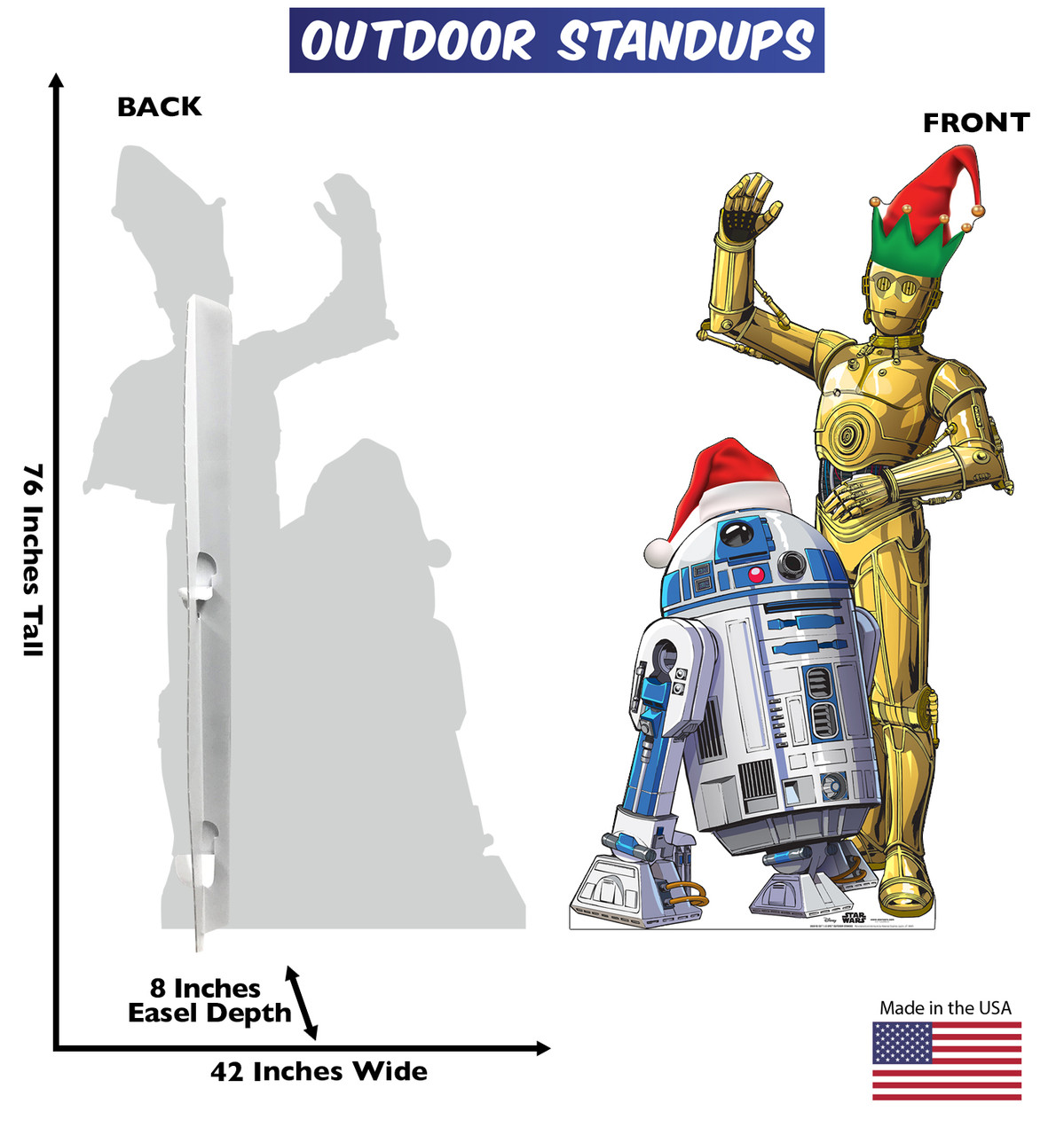 Coroplast outdoor standee of R2-D2 and C-3PO with holiday hats and front and back dimensions.