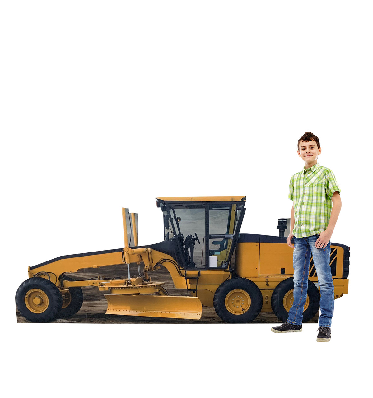 Life-size cardboard standee of a construction grader with model.