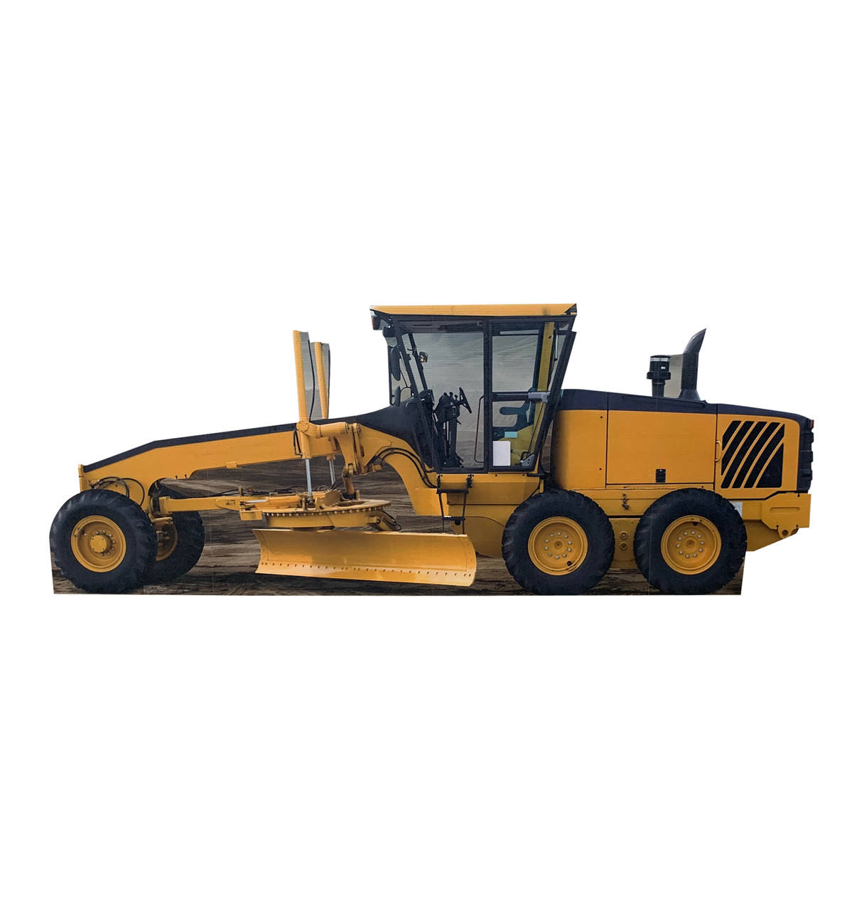 Life-size cardboard standee of a construction grader.