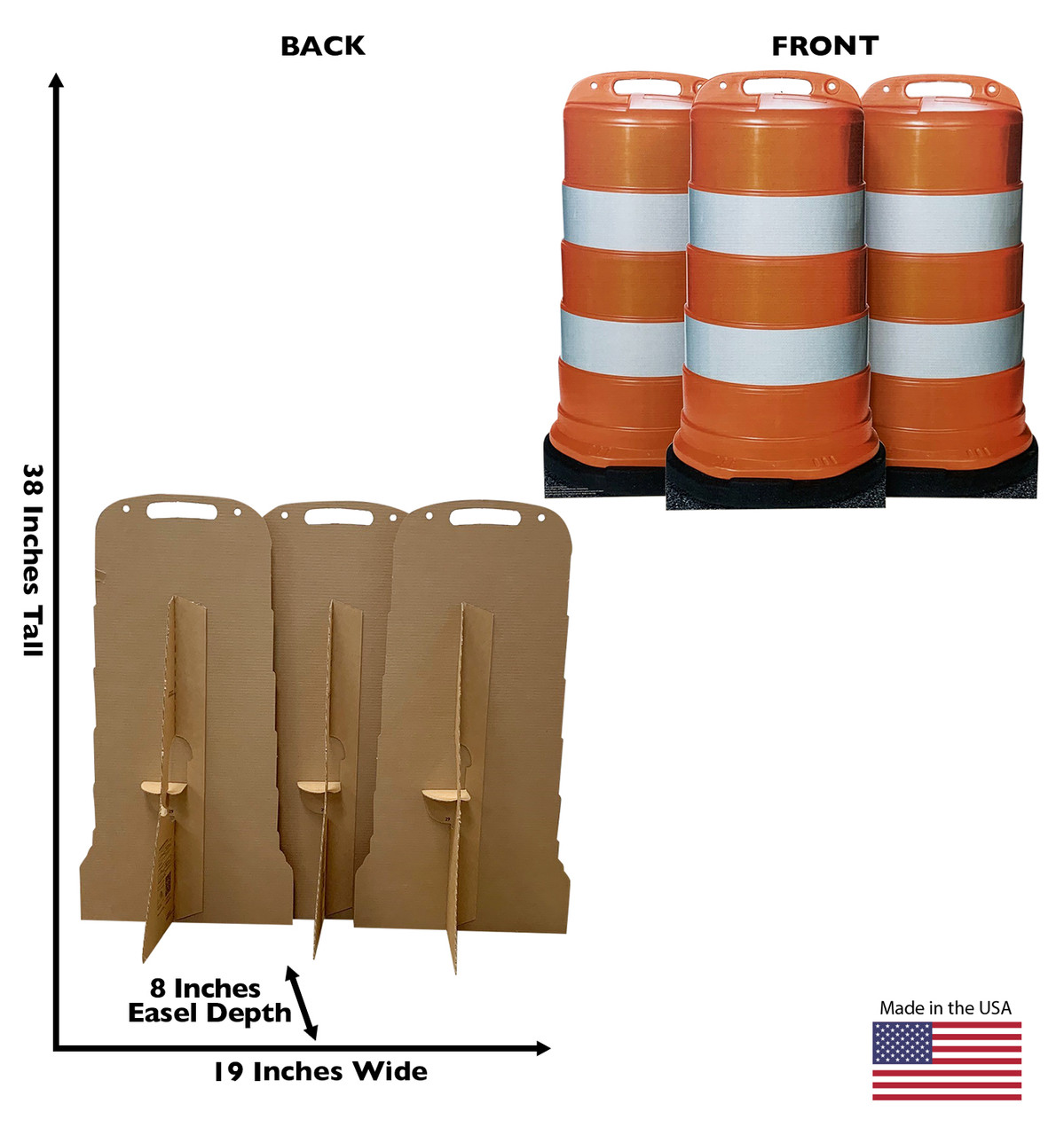 Life-size cardboard standee of construction barrels (set of 3)  with back and front dimensions.