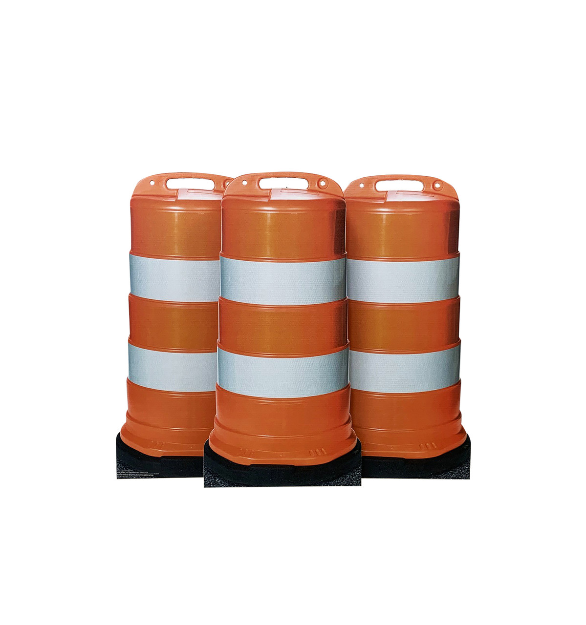 Life-size cardboard standee of construction barrels (set of 3).