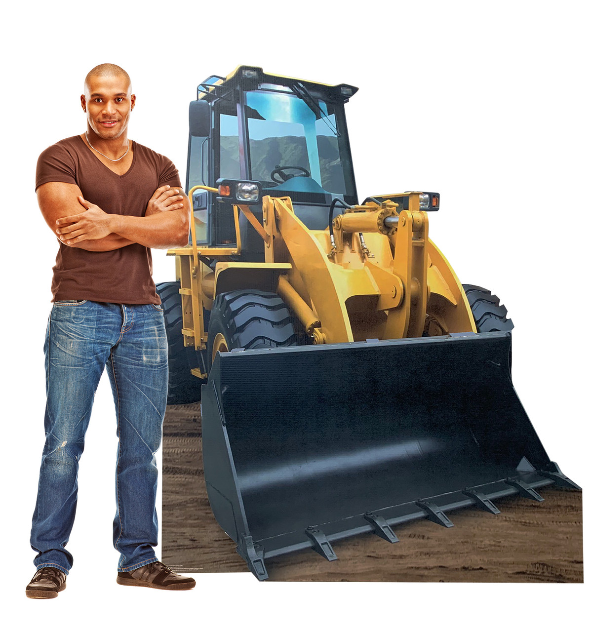 Life-size cardboard standee of construction front loader with model.