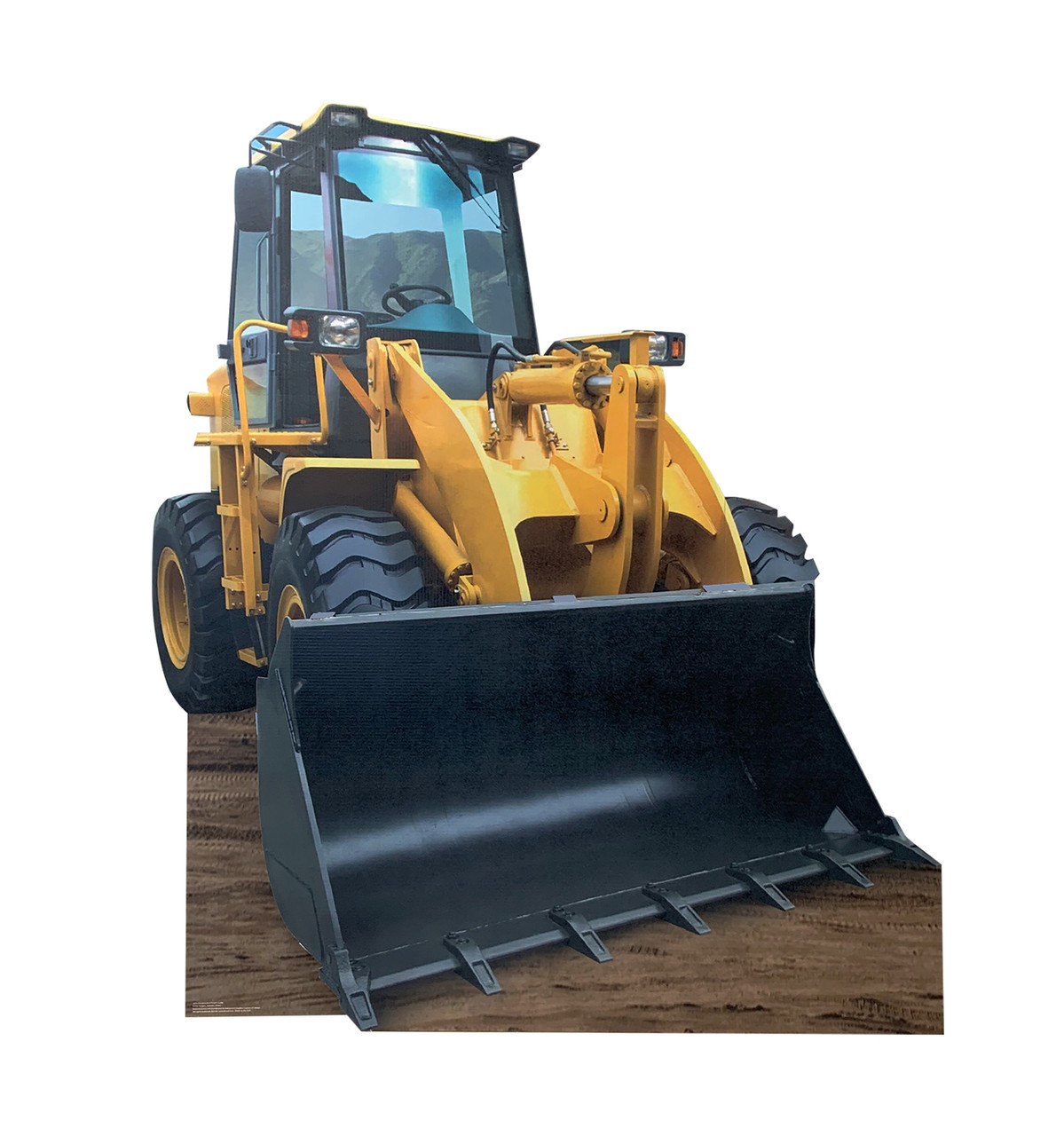 Life-size cardboard standee of construction front loader.