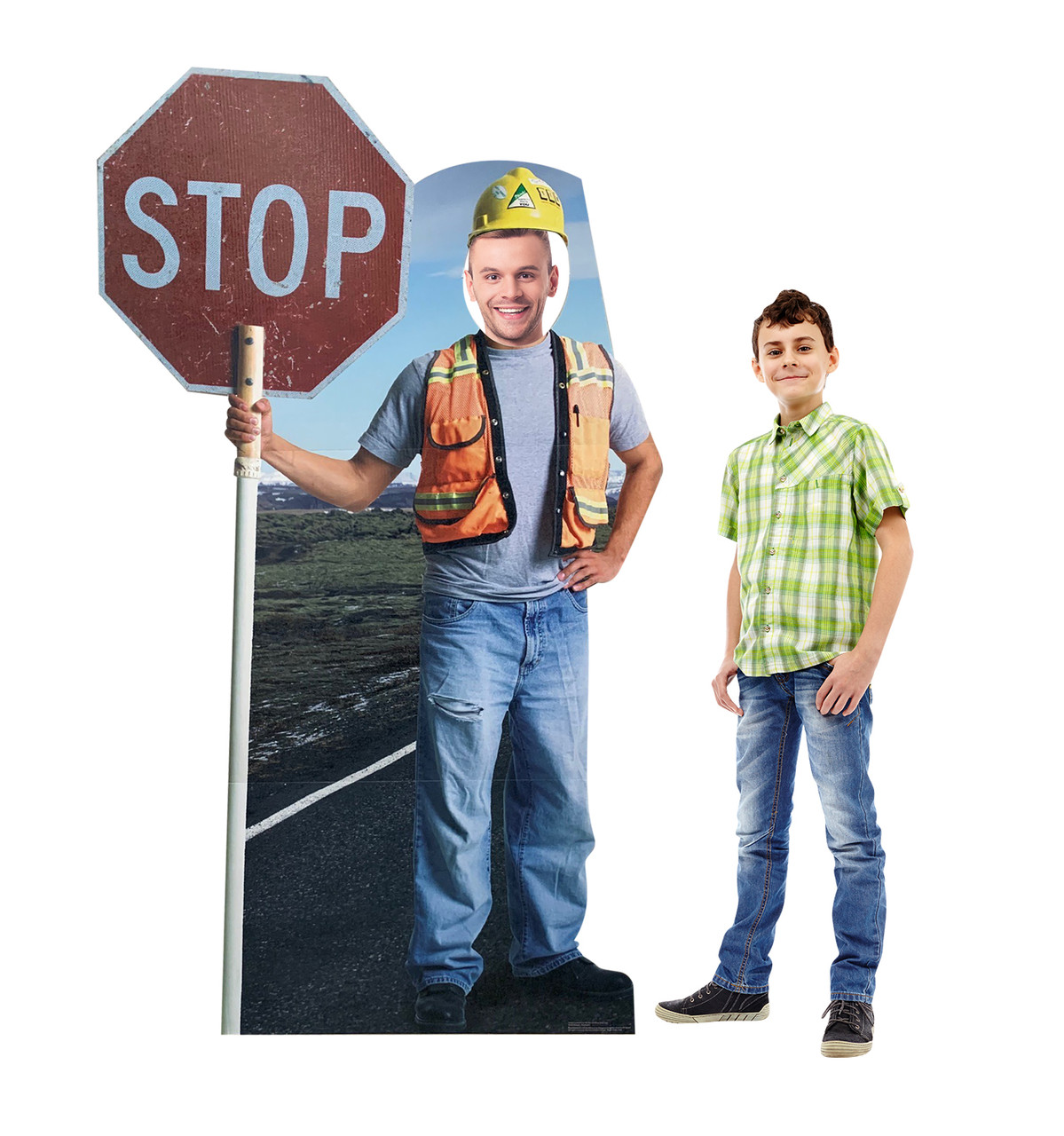 Life-size cardboard standee of Construction Worker Stop Sign Standin with models.