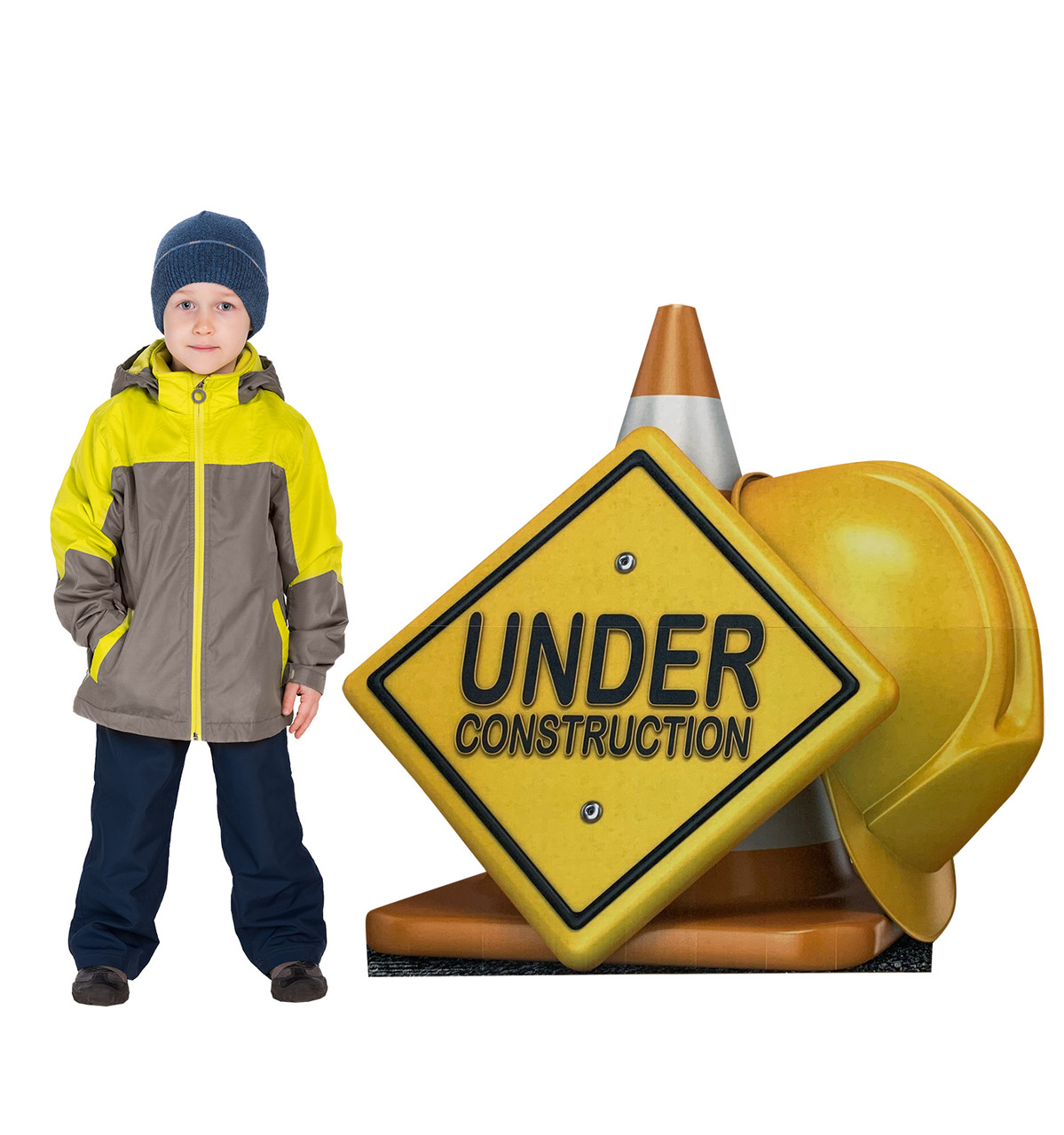 Life-size cardboard standee of a Under Construction Sign Standee with model.