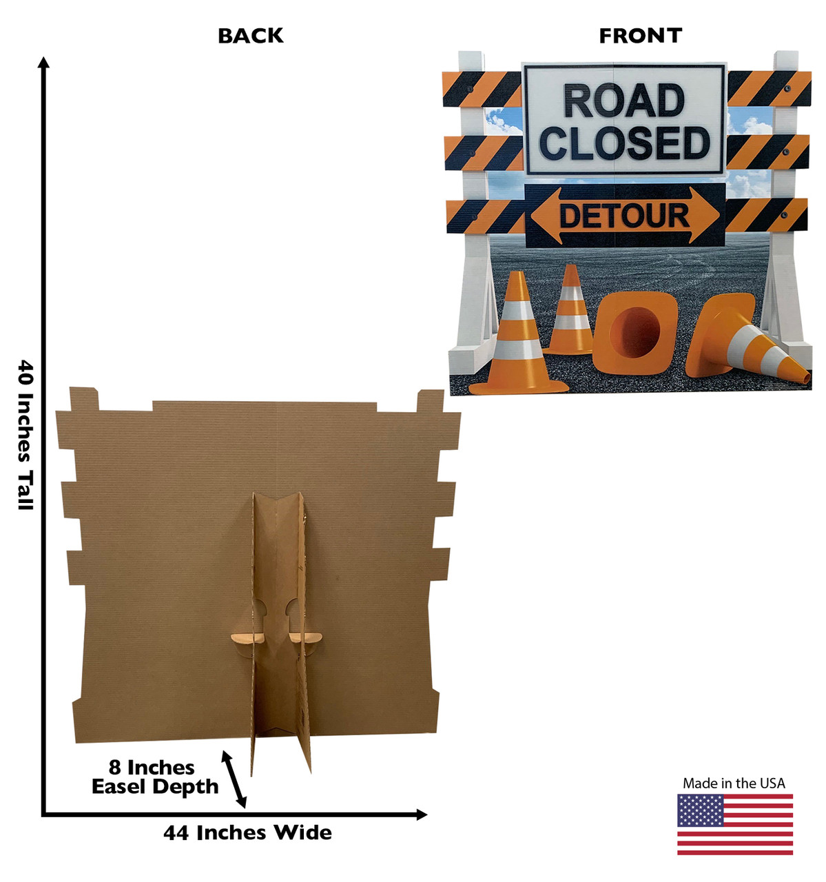 Life-size cardboard standee of a Road Closed Detour Sign Standee with back and front dimensions.