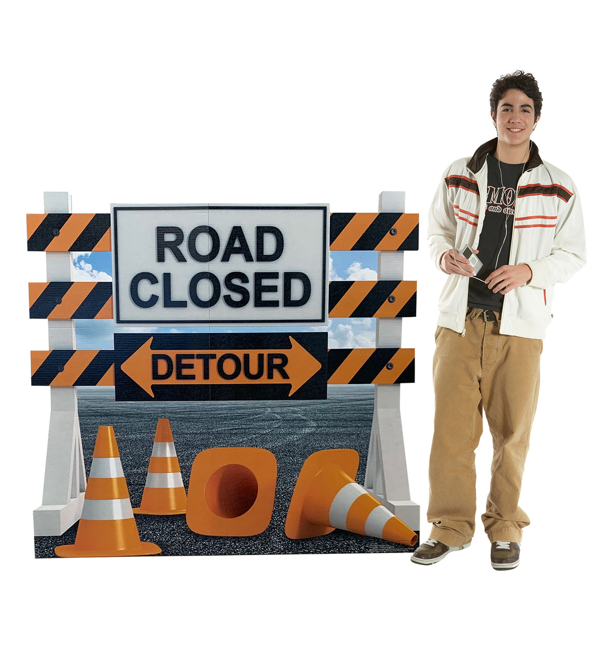 Life-size cardboard standee of a Road Closed Detour Sign Standee with model.