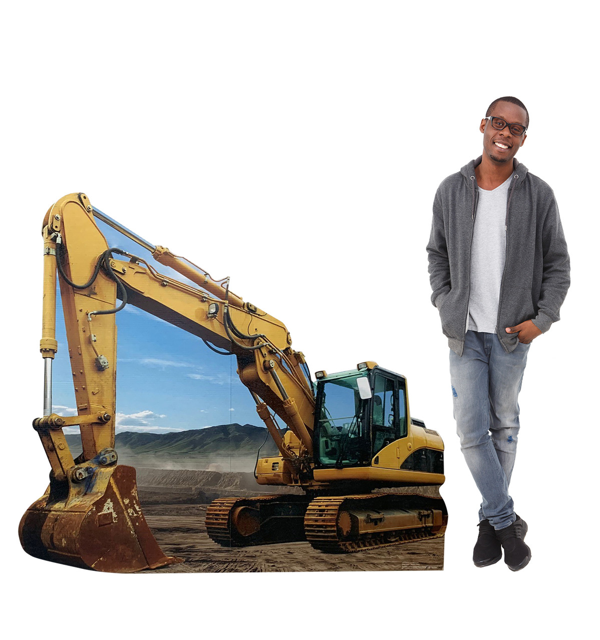 Life-size cardboard standee of a Construction Excavator Standee with model.