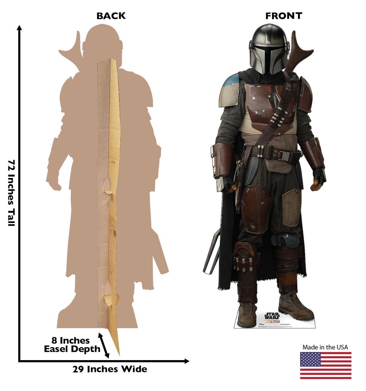 Life-size cardboard standee of The Mandalorian with back and front dimensions.