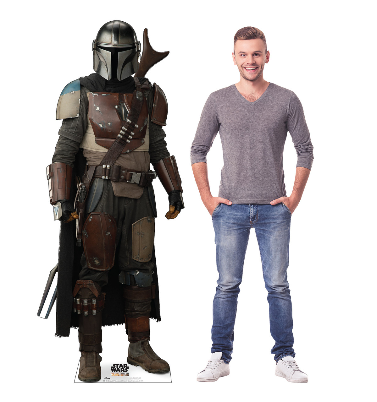 Life-size cardboard standee of The Mandalorian with model.