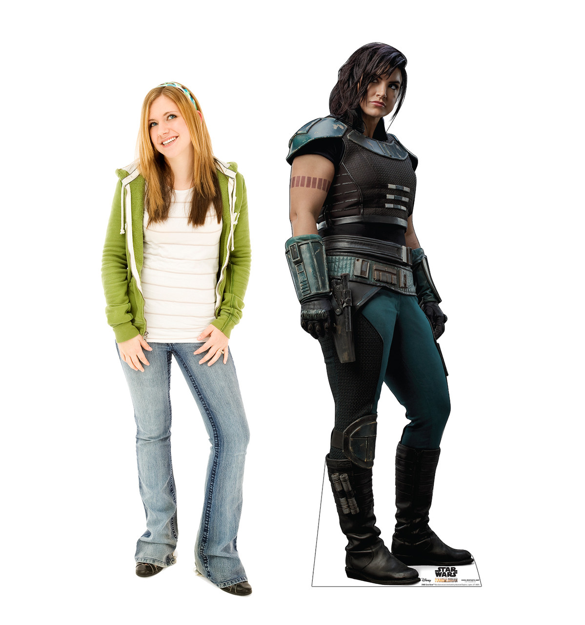 Life-size cardboard standee of Cara Dune fromThe Mandalorian with model.