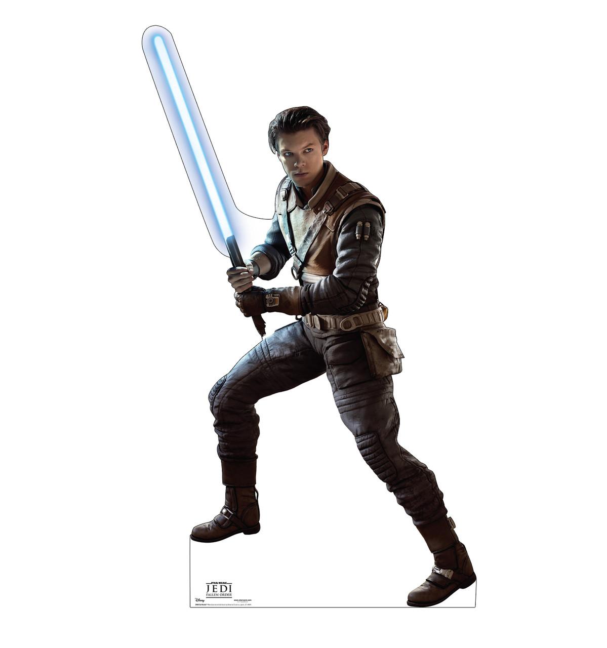 Life-size cardboard standee of Cal Kestis from Jedi Fallen Order.