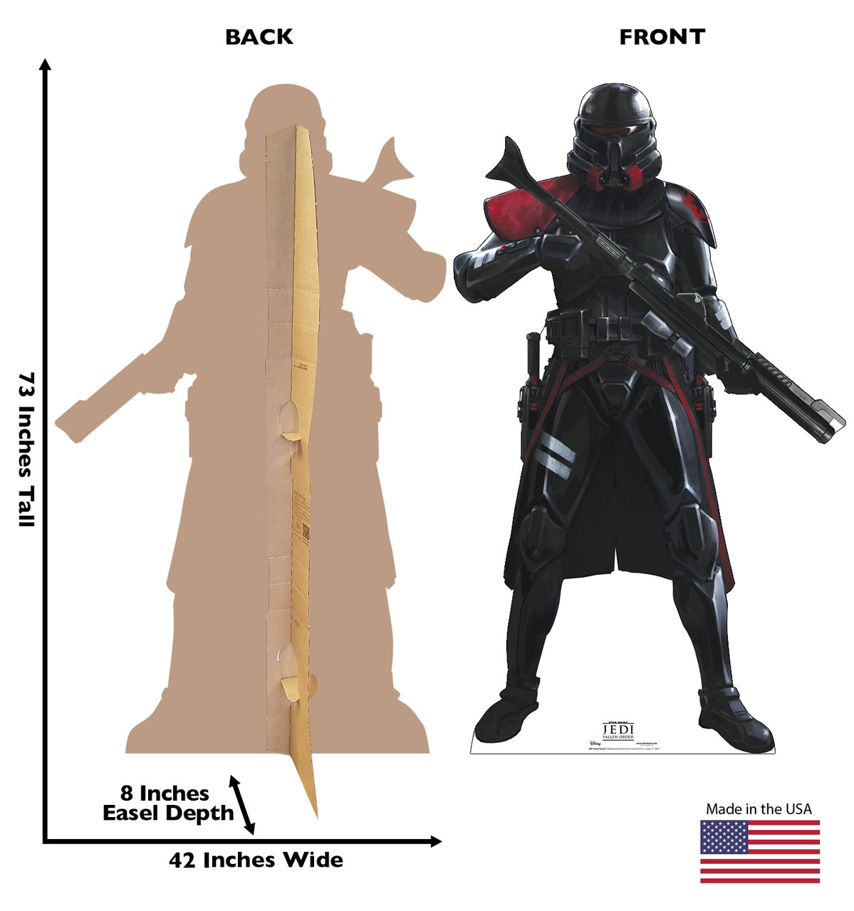 Life-size cardboard standee of Purge Trooper from Jedi Fallen Order with back and front dimensions.