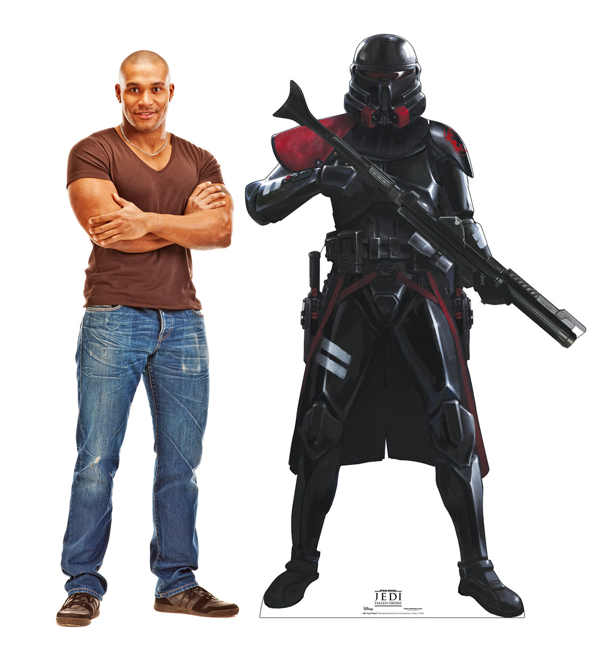Life-size cardboard standee of Purge Trooper from Jedi Fallen Order with model.