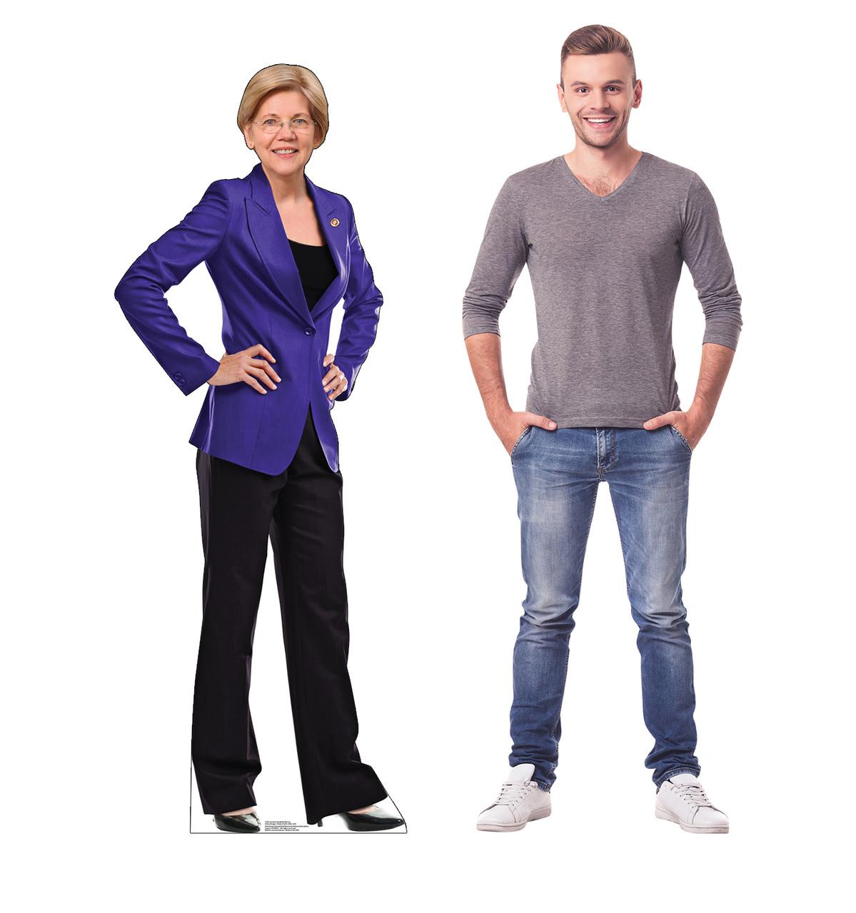 Life-size cardboard standee of Senator Elizabeth Warren with model.