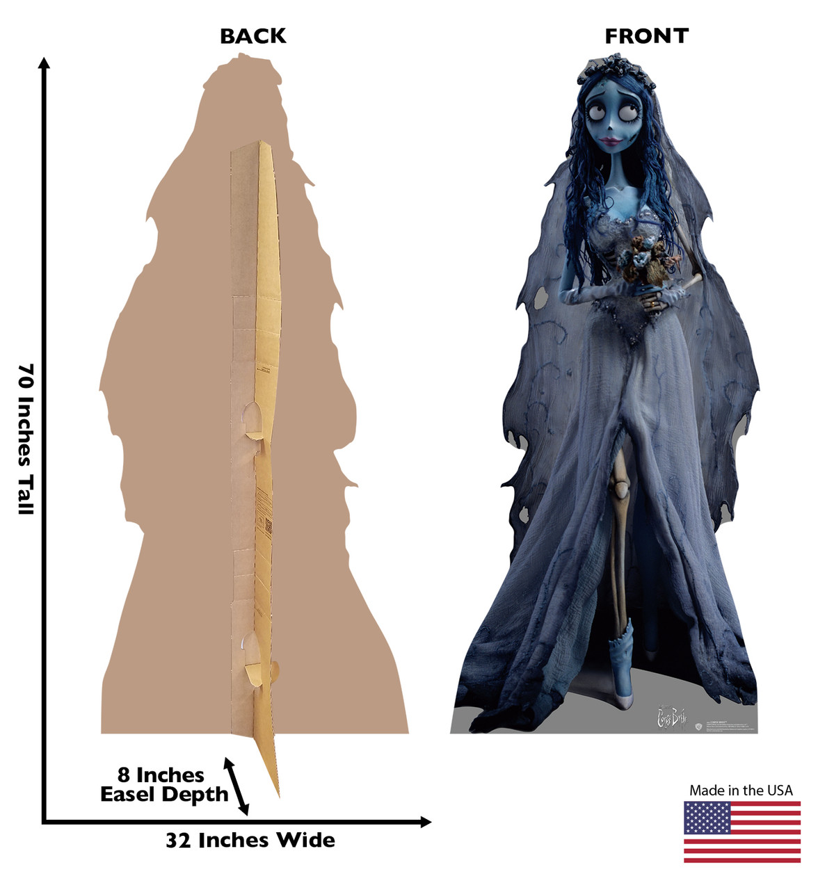 Life-size cardboard standee of The Corpse Bride with back and front dimensions.