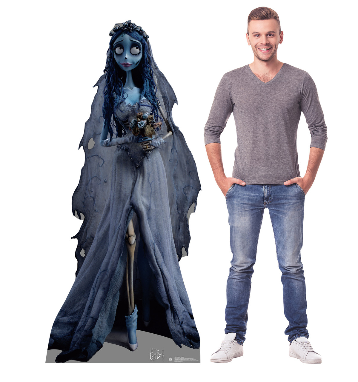 Life-size cardboard standee of The Corpse Bride with model.
