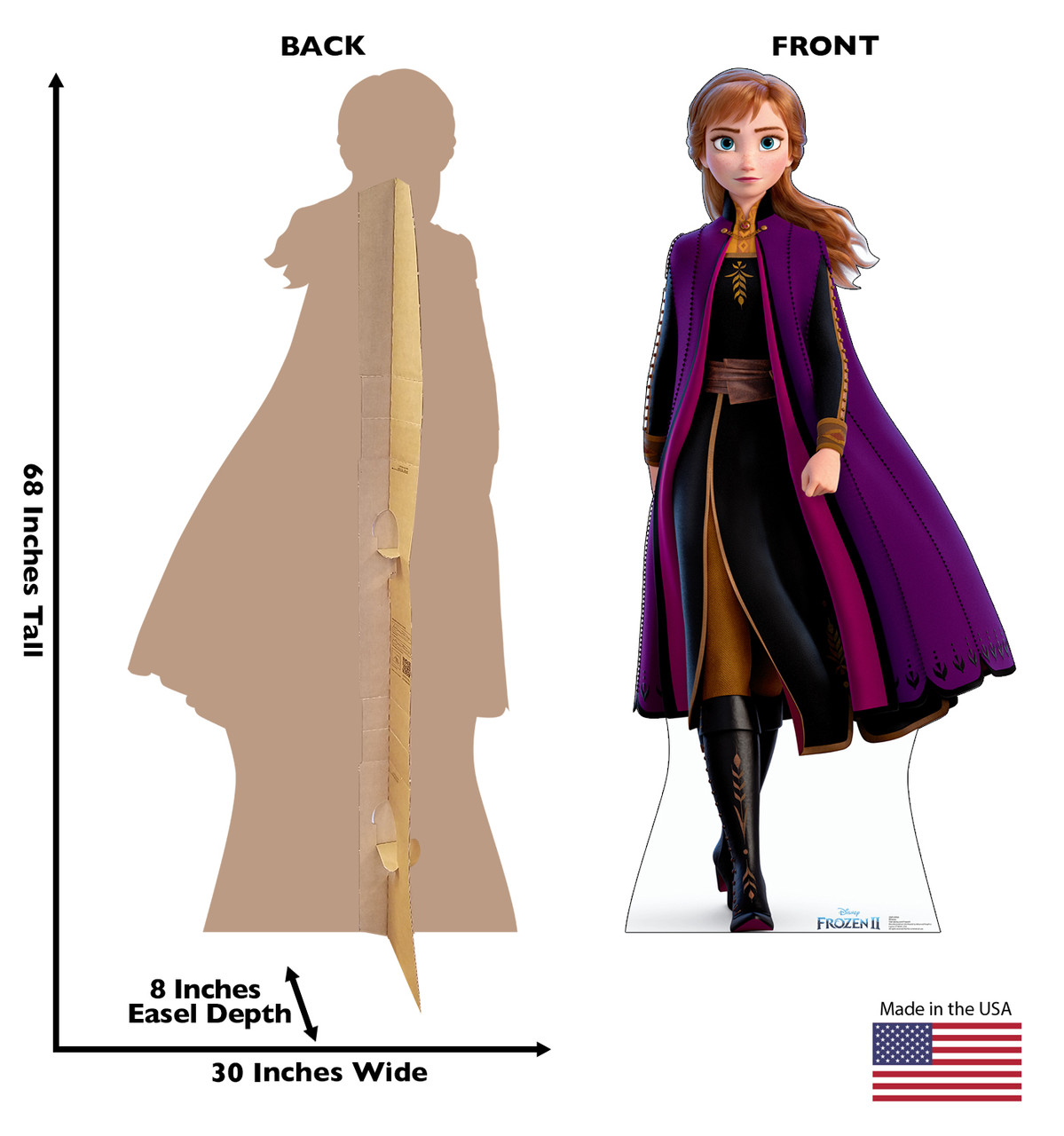Life-size cardboard standee of Anna from Disney's Frozen 2) with back and front dimensions.