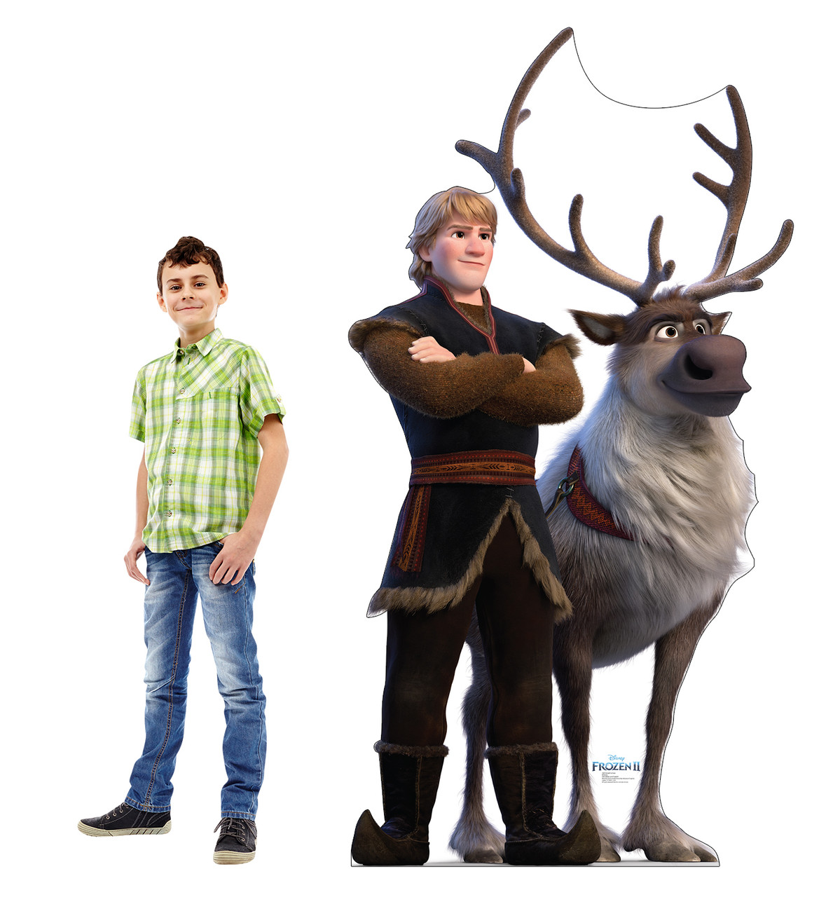 Life-size cardboard standee of Kristoff & Sven from Disney's Frozen 2) with model.